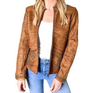 Double D Ranch Studded Leather Jacket in Brown